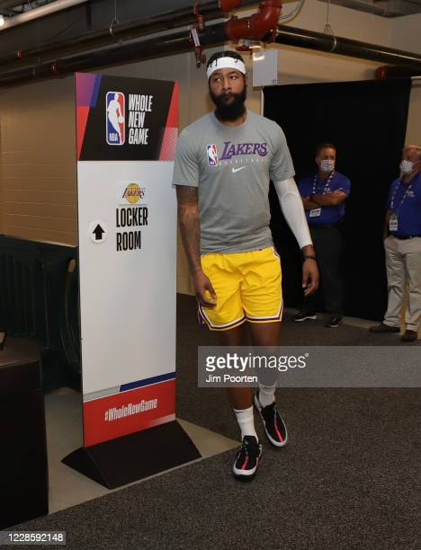 Markeiff Morris of the Los Angeles Lakers heads to the court after halftime against the Denver Nuggets in Game one of the Western Conference Finals...