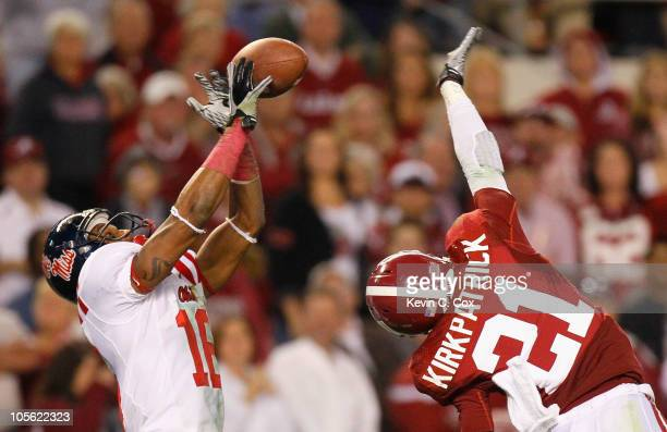 Markeith Summers of the Ole Miss Rebels fails to pull in this reception against Dre Kirkpatrick of the Alabama Crimson Tide at Bryant-Denny Stadium...