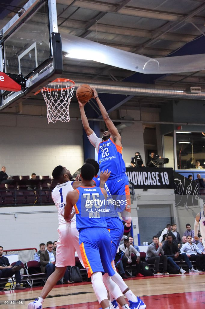 Markel Brown #22 of the Oklahoma City Blue shoots the ball against the Long Island Nets at NBA G League Showcase Game 18 on January 12, 2018 at the Hershey Centre in Mississauga, Ontario Canada.