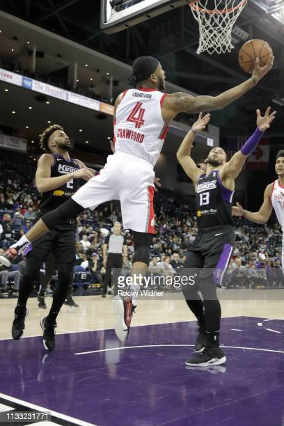 Markel Crawford of the Memphis Hustle shoots reverse layup against the Stockton Kings on March 27 2019 at Stockton Arena in Stockton California NOTE...
