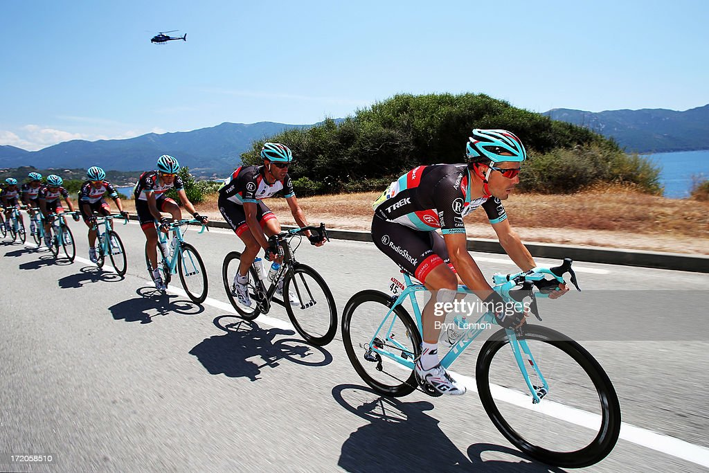 Markel Irizar of Spain and Radioshack Leopard leads the peloton along the Corsican coast during stage three of the 2013 Tour de France, a 145.5KM road stage from Ajaccio to Calvi, on July 1, 2013 in Calvi, France.