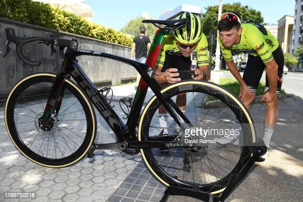 Markel Irizar of Spain and Team Trek-Segafredo and Giulio Ciccone of Italy and Team Trek-Segafredo look at Farewell Gift Trek bike to Markel before...