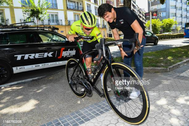 Markel Irizar of Spain and Team Trek-Segafredo and Luca Guercilena of Italy General Manager of Team Trek-Segafredo look at Farewell Gift Trek bike to...
