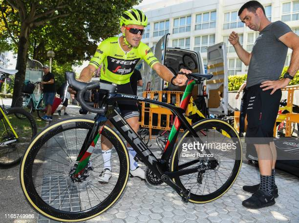 Markel Irizar of Spain and Team Trek-Segafredo looks at Farewell Gift Trek bike to Markel before competing in his last race as a Pro-cyclist / on...