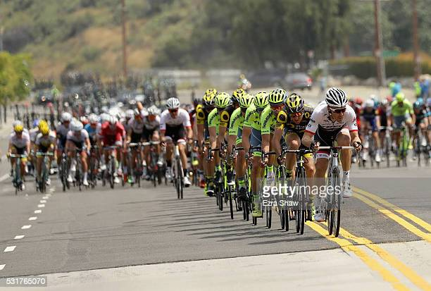 Markel Irizar of Spain leads the peloton during Stage 2 of the Amgen Tour of California on May 16, 2016 in South Pasadena, California.