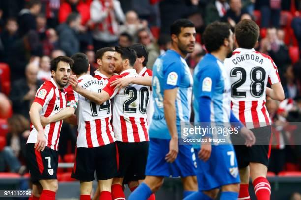 Markel Susaeta of Athletic Bilbao Aritz Aduriz of Athletic Bilbao Miguel Torres of Malaga CF Manuel Iturra of Malaga CF celebrate 11 during the La...