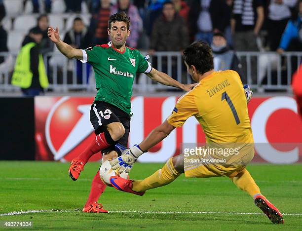 Markel Susaeta of Athletic Club in action against Zivko Zivkovic of FK Partizan during the UEFA Europa League match between FK Partizan v Athletic...