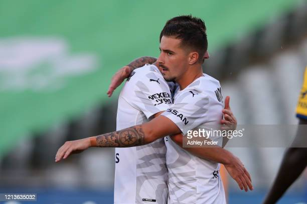 Markel Susaeta of Melbourne City celebrates his goal with Florin Berenguer of Melbourne City during the round 24 ALeague match between the Central...