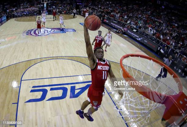 Markell Johnson of the North Carolina State Wolfpack dunks against the Virginia Cavaliers during their game in the quarterfinal round of the 2019...