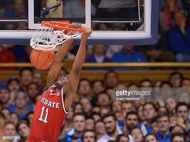 Markell Johnson of the North Carolina State Wolfpack dunks against the Duke Blue Devils during the game at Cameron Indoor Stadium on January 23 2017...