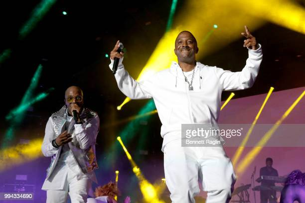 Markell Riley of WreckxnEffect performs onstage with Teddy Riley during the 2018 Essence Festival presented by CocaCola Day 3 at Louisiana Superdome...