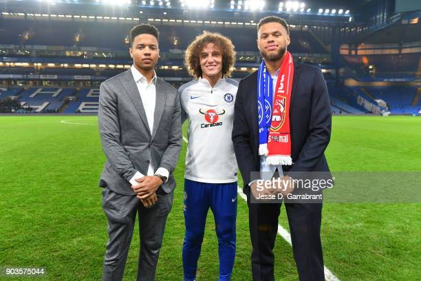 Markelle Fultz and Justin Anderson of the Philadelphia 76ers poses for a photo during the Chelsea FC vs Arsenal FC soccer match as part of the 2018...