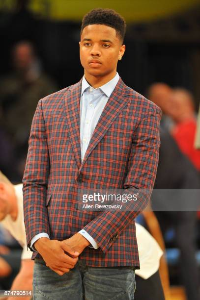 Markelle Fultz attends a basketball game between the Los Angeles Lakers and the Philadelphia 76ers at Staples Center on November 15 2017 in Los...