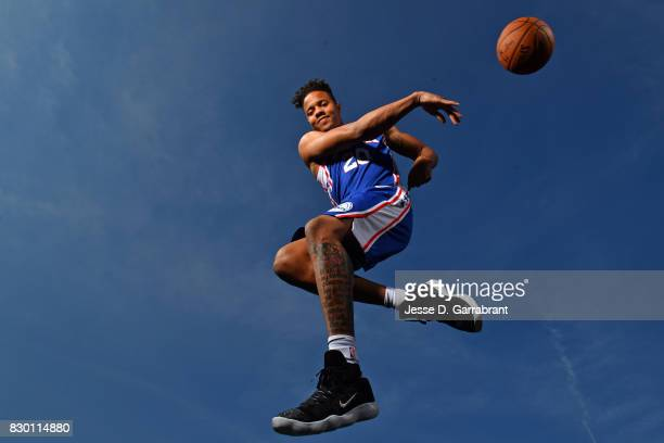 Markelle Fultz f the Philadelphia 76ers poses for a portrait during the 2017 NBA rookie photo shoot on August 11 2017 at the Madison Square Garden...