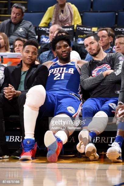 Markelle Fultz Joel Embiid and JJ Redick of the Philadelphia 76ers on the bench during the game against the Golden State Warriors on November 11 2017...