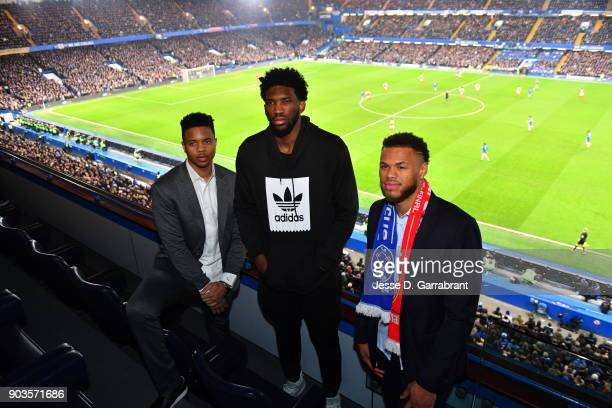 Markelle Fultz Joel Embiid and Justin Anderson of the Philadelphia 76ers pose for a photo during the Chelsea FC vs Arsenal FC soccer match as part of...