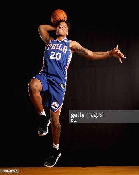 Markelle Fultz of the 76ers poses for a portrait during the 2017 NBA Rookie Photo Shoot at MSG Training Center on August 11 2017 in Greenburgh New...