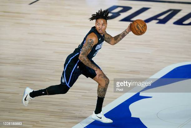 Markelle Fultz of the Orlando Magic brings the ball up court against the Milwaukee Bucks in the first half of Game Four during the first round of the...