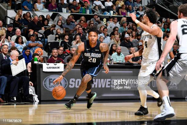 Markelle Fultz of the Orlando Magic drives to the basket against the San Antonio Spurs during the preseason on October 5 2019 at the ATT Center in...