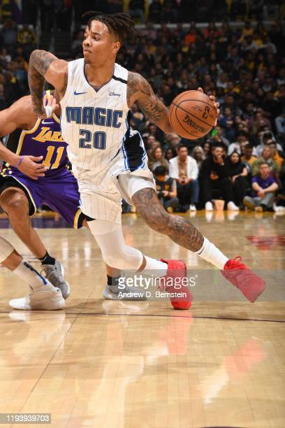 Markelle Fultz of the Orlando Magic drives to the basket against the Los Angeles Lakers on January 15 2020 at STAPLES Center in Los Angeles...