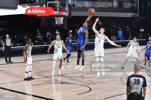 Markelle Fultz of the Orlando Magic dunks the ball during the game against the Milwaukee Bucks during Round One Game Five of the NBA Playoffs on...