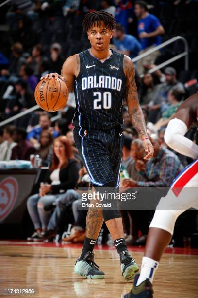 Markelle Fultz of the Orlando Magic handles the ball against the Detroit Pistons during a preseason game on October 7 2019 at Little Caesars Arena in...