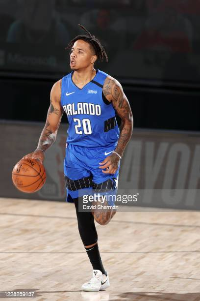 Markelle Fultz of the Orlando Magic handles the ball against the Milwaukee Bucks during Round One Game Five of the NBA Playoffs on August 29 2020 at...