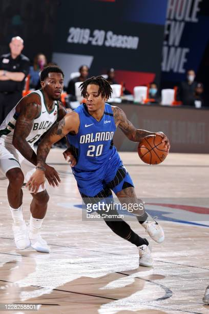 Markelle Fultz of the Orlando Magic handles the ball during the game against the Milwaukee Bucks during Round One Game Five of the NBA Playoffs on...