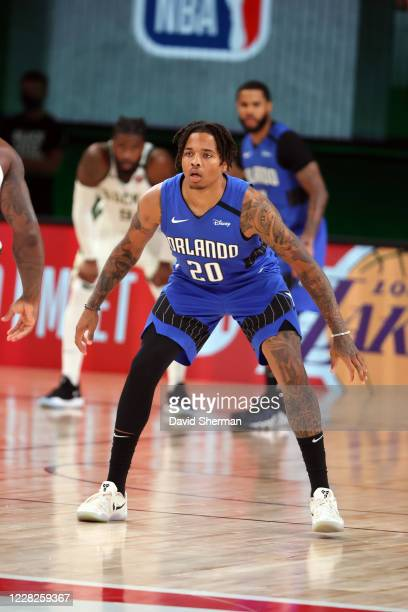 Markelle Fultz of the Orlando Magic plays defense during the game against the Milwaukee Bucks during Round One Game Five of the NBA Playoffs on...