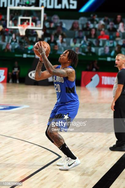 Markelle Fultz of the Orlando Magic shoots a three point basket during the game against the Milwaukee Bucks during Round One Game Five of the NBA...
