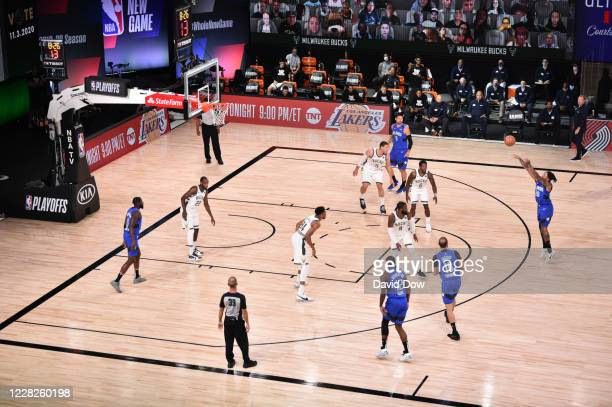 Markelle Fultz of the Orlando Magic shoots against the Milwaukee Bucks for Game five of the first round of the 2020 Playoffs as part of the NBA...
