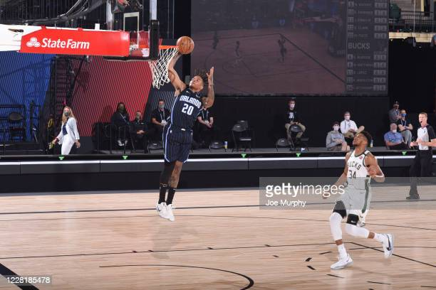 Markelle Fultz of the Orlando Magic shoots the ball against the Milwaukee Bucks during Round One Game Four of the NBA Playoffs on August 24 2020 in...