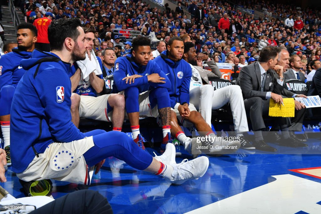 Markelle Fultz #20 of the Philadelphia 76ers and Justin Anderson #1 of the Philadelphia 76ers look on during the game against the Miami Heat in Game Two of Round One of the 2018 NBA Playoffs on April 16, 2018 in Philadelphia, Pennsylvania