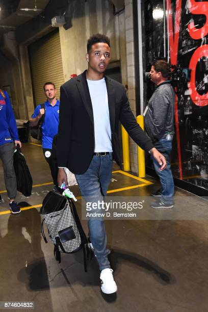 Markelle Fultz of the Philadelphia 76ers arrives at the arena before the game against the LA Clippers on November 13 2017 at STAPLES Center in Los...