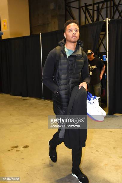 Markelle Fultz of the Philadelphia 76ers arrives at the arena before the game against the Golden State Warriors on November 11 2017 at ORACLE Arena...