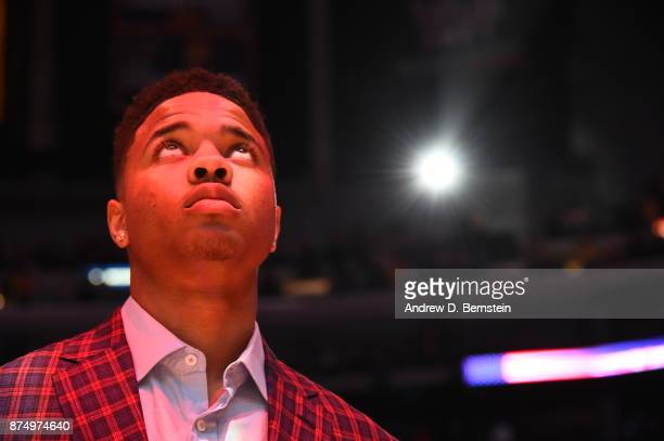 Markelle Fultz of the Philadelphia 76ers before the game against the Los Angeles Lakers on November 15 2017 at STAPLES Center in Los Angeles...