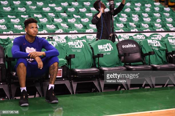 Markelle Fultz of the Philadelphia 76ers before the game against the Boston Celtics in Game One of the Eastern Conference Semifinals of the 2018 NBA...
