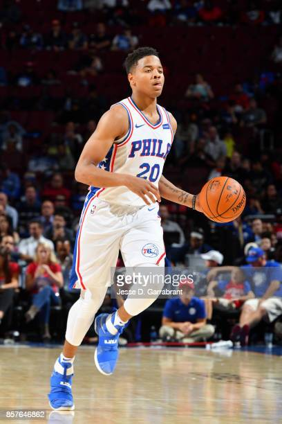 Markelle Fultz of the Philadelphia 76ers brings the ball up court during the game against the Memphis Grizzlies during a preseason game on October 4...