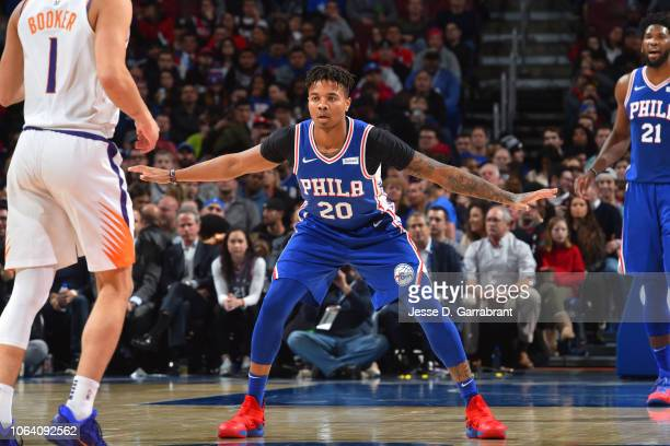 Markelle Fultz of the Philadelphia 76ers defends against the Phoenix Suns on November 19 2018 at the Wells Fargo Center in Philadelphia Pennsylvania...