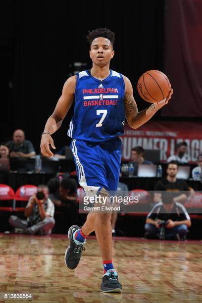 Markelle Fultz of the Philadelphia 76ers dribbles against the Golden State Warriors during the 2017 Las Vegas Summer League on July 8 2017 at the...