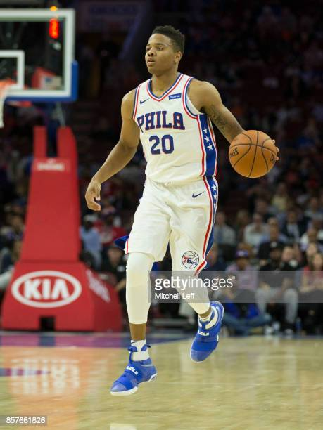 Markelle Fultz of the Philadelphia 76ers dribbles the ball against the Memphis Grizzlies in the second quarter of the preseason game at the Wells...