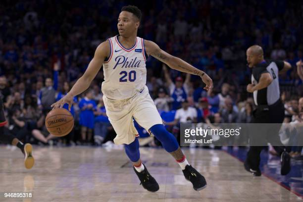 Markelle Fultz of the Philadelphia 76ers dribbles the ball against the Miami Heat during Game One of the first round of the 2018 NBA Playoff at Wells...