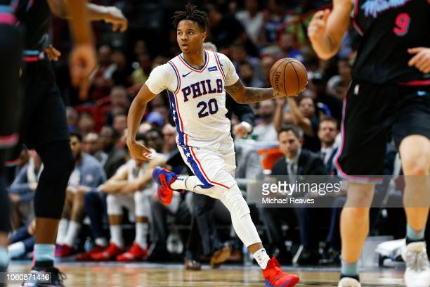 Markelle Fultz of the Philadelphia 76ers dribbles up the court against the Miami Heat during the second half at American Airlines Arena on November...