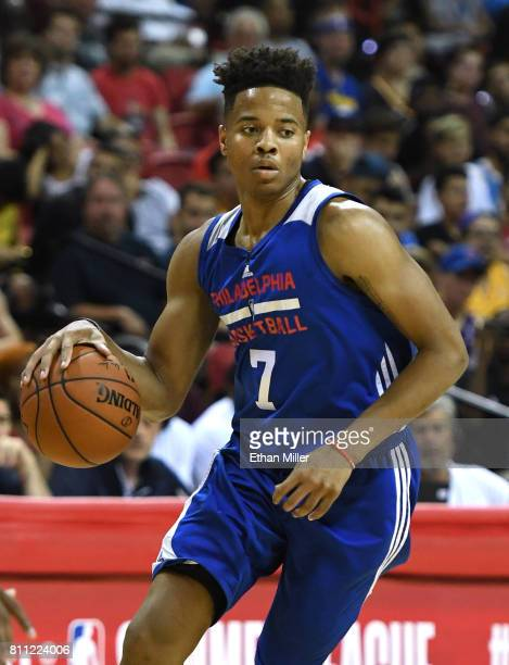 Markelle Fultz of the Philadelphia 76ers drives against the Golden State Warriors during the 2017 Summer League at the Thomas Mack Center on July 8...