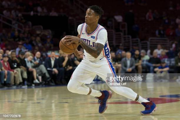 Markelle Fultz of the Philadelphia 76ers drives to the basket against Melbourne United in the preseason game at Wells Fargo Center on September 28...