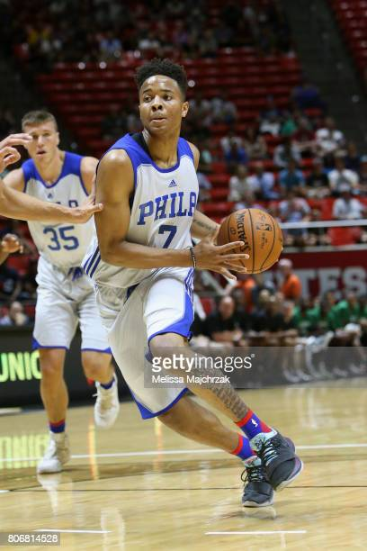 Markelle Fultz of the Philadelphia 76ers drives to the basket against the Boston Celtics on July 3 2017 at Jon M Huntsman Center in Salt Lake City...