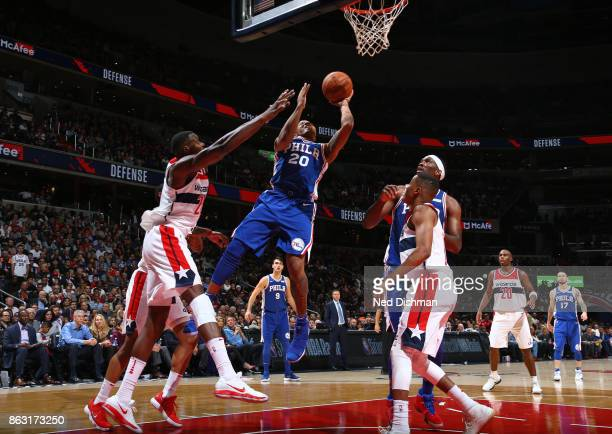 Markelle Fultz of the Philadelphia 76ers drives to the basket against the Washington Wizards on October 18 2017 at Capital One Arena in Washington DC...