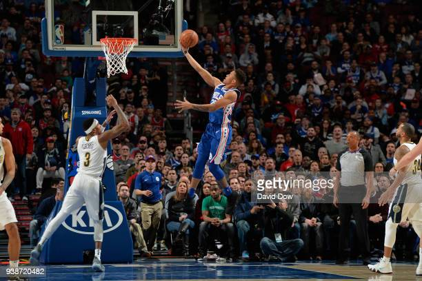 Markelle Fultz of the Philadelphia 76ers drives to the basket against the Denver Nuggets at Wells Fargo Center on March 26 2018 in Philadelphia...