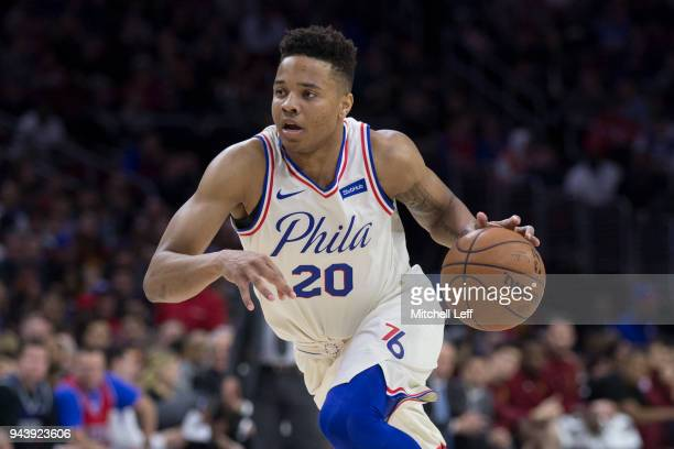 Markelle Fultz of the Philadelphia 76ers drives to the basket against the Cleveland Cavaliers at the Wells Fargo Center on April 6 2018 in...