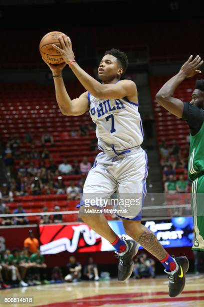 Markelle Fultz of the Philadelphia 76ers goes to the basket against the Boston Celtics on July 3 2017 at Jon M Huntsman Center in Salt Lake City Utah...